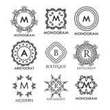 Set luksusu, prostych i eleganckich błękitni monograma projekta szablony, Zdjęcia Stock