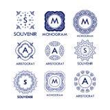 Set luksusu, prostych i eleganckich błękitni monograma projekta szablony, Zdjęcie Royalty Free