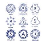 Set luksusu, prostych i eleganckich błękitni monograma projekta szablony, Zdjęcia Royalty Free