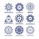 Set luksusu, prostych i eleganckich błękitni monograma projekta szablony, Obrazy Royalty Free