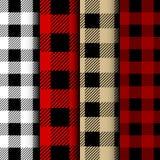 Set of Lumberjack Buffalo Plaid Seamless Pattern. Red and Black Lumberjack stock illustration