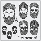 Set of Lumberjack characters with glasses, tobacco pipes and hats. Vintage style. royalty free illustration