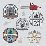 Set of lumberjack design elements Royalty Free Stock Images