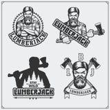 Set Lumberjack etykietki, emblematy, odznaki i projektów elementy, ilustracyjny lelui czerwieni stylu rocznik ilustracja wektor
