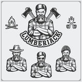 Set of Lumberjack labels, emblems, badges and design elements. Vintage style. Royalty Free Stock Image