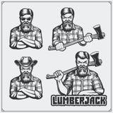 Set of Lumberjack labels, emblems, badges and design elements. Vintage style. Royalty Free Stock Images
