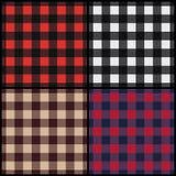 Set of lumberjack plaid seamless patterns. Set of four lumberjack plaid seamless patterns. Vector illustration royalty free illustration