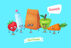 Set of lunch characters. Vector cute cartoons Royalty Free Stock Image
