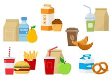 Set of lunch food icons. Vector vector illustration