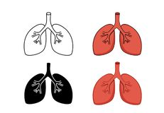 Set of lung icon, vector art Stock Photo