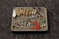 Set of lures for ice fishing Royalty Free Stock Images