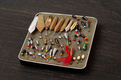 Set of lures for ice fishing Royalty Free Stock Image