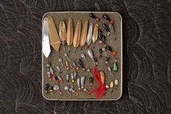Set of lures for ice fishing Stock Image