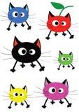 Set lustige bunte Katzen stock abbildung