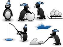 Set lustige Pinguine in der Tätigkeit Lizenzfreie Stockfotografie