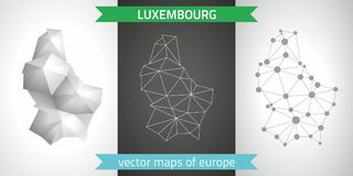 Luxembourg collection of vector design modern maps, gray and black and silver dot contour mosaic 3d map. Set of Luxembourg polygonal mosaic modern maps Stock Photos