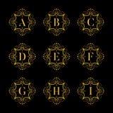 Set luxury  alphabet. Letters alphabet with floral. Classic  logo alphabet. Luxury Font. Alphabet Letters. Vector illustration, Eps8. eps10 Stock Photography
