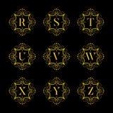 Set luxury  alphabet. Letters alphabet with floral. Classic  logo alphabet. Luxury Font. Alphabet Letters. Vector illustration, Eps8. eps10 Royalty Free Stock Photos