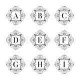 Set luxury  alphabet on the white background. Letters alphabet with floral. Classic  logo alphabet. Luxury Font. Alphabet Letters. Vector illustration, Eps8 Stock Photo