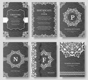Set of Luxury artistic pages with logo brochure template. Vintage art identity, floral, magazine. Traditional, Islam. Arabic, indian. Decorative retro greeting Stock Images