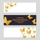 Set of luxury banners with golden glittering butterflies. Royalty Free Stock Images