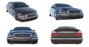 Set Luxury Brown Sedan Car Isolated. 3D rendering. Set Luxury Brown Sedan Car Isolated. 3D rendering Stock Photography