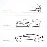 Set of luxury car silhouettes. Vector illustration Stock Images