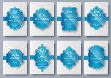 Set of Luxury colors artistic pages set with logo brochure template. Vintage art identity, floral, magazine. Traditional. Islam, Arabic, Indian. Decorative Stock Photo