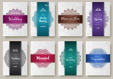 Set of Luxury colors artistic pages set with logo brochure template. Vintage art identity, floral, magazine. Traditional. Islam, Arabic, Indian. Decorative Vector Illustration
