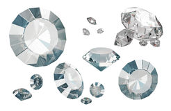 Set of luxury diamonds isolated on white backgrounds. Shiny crystals. 3d render stock illustration