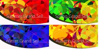 Set of Luxury Four season banners, sell corporate banner templat Stock Photo