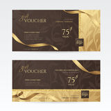 Set of luxury gift vouchers with golden ribbons and floral patterns on the deep brown background. stock illustration