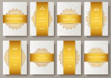 Set of Luxury Gold artistic pages set with logo brochure template. Vintage art identity, floral, magazine. Traditional. Islam, Arabic, Indian. Decorative retro Royalty Free Illustration