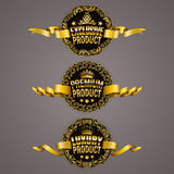 Set of luxury gold badges. With ornate borders, stars, crowns, ribbons. Exclusive, premium, luxury product. Promotion emblems, icons, labels, medal for web page royalty free illustration