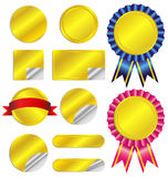 Set luxury gold labels and ribbons. On white background Royalty Free Illustration