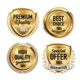 Set of Luxury Gold Quality Badges. stock illustration