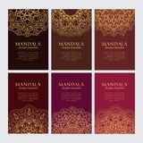 Set of luxury golden arabic ornaments on brown and red backgrounds royalty free illustration
