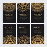 . Set of luxury golden arabic ornaments for identity. Mandala design template vector collection. Set of luxury golden arabic ornaments for identity, web and Royalty Free Stock Image