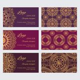 Set of luxury golden ornaments and patterns on brown and red backgrounds. Mandala business card design template vector collection. Set of luxury golden ornaments Vector Illustration