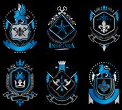 Set of luxury heraldic vector templates. Collection of vector symbolic blazons made using graphic elements, royal. Crowns, medieval castles, armory and stock illustration