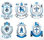 Set of luxury heraldic vector templates. Collection of vector symbolic blazons made using graphic elements, royal. Crowns, medieval castles, armory and vector illustration
