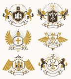 Set of luxury heraldic vector templates. Collection of vector sy Stock Photography