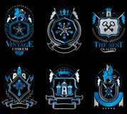 Set of luxury heraldic vector templates. Collection of vector symbolic blazons made using graphic elements, royal crowns, medieval. Castles, armory and stock illustration