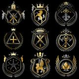 Set of luxury heraldic vector templates. Collection of vector symbolic blazons made using graphic elements, royal crowns, medieval. Castles, armory and vector illustration