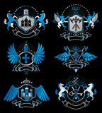 Set of luxury heraldic vector templates. Collection of vector symbolic blazons made using graphic elements, royal. Crowns, medieval castles, armory and royalty free illustration