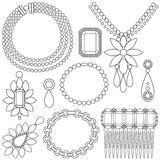 Set of luxury jewels. Set of black and white luxury jewels accessories Royalty Free Stock Photos