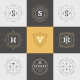 Set Luxury Logos template flourishes calligraphic. Elegant ornament lines. Business sign, identity for Restaurant, Royalty, Boutique, Hotel, Heraldic, Jewelry vector illustration