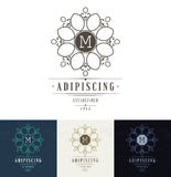 Set Luxury Logos template flourishes. Calligraphic elegant ornament lines. Business sign, identity for Restaurant, Royalty, Boutique, Hotel, Heraldic, Jewelry royalty free illustration