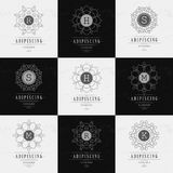 Set Luxury Logos template flourishes. Calligraphic elegant ornament lines. Business sign, identity for Restaurant, Royalty, Boutique, Hotel, Heraldic, Jewelry vector illustration