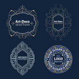 Set Luxury Logos template flourishes calligraphic. Line Vector Illustration